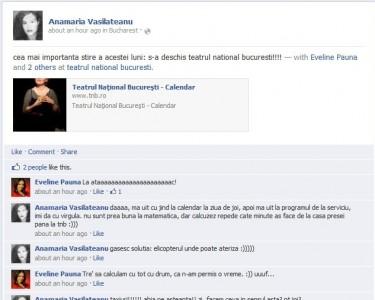 Eveline Pauna si Anamaria Vasilateanu doua pitzipoance care au un dialog personal pe wall-ul de Facebook